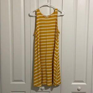 White yellow striped dress